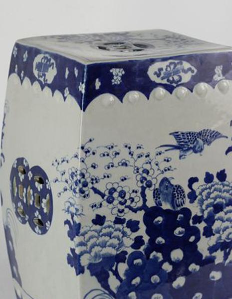 Marvelous Rylu23 A Blue And White Flower Bird Ceramic Square Stool Ibusinesslaw Wood Chair Design Ideas Ibusinesslaworg