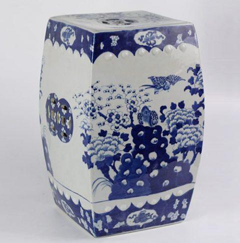 RYLU23-A_Blue And White Flower Bird Ceramic Square Stool