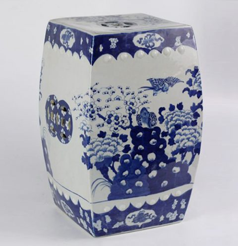 RYLU23-A_Blue And White Flower Bird Ceramic Square Stool