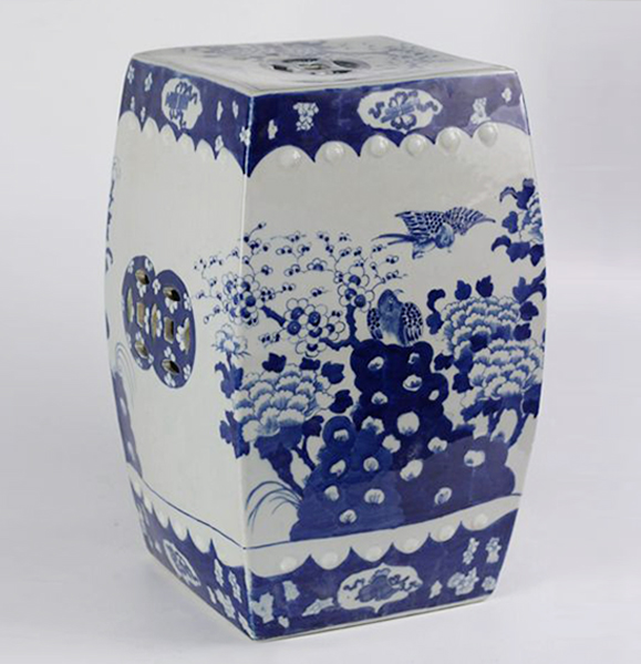 Blue And White Flower Bird Ceramic Square Stool