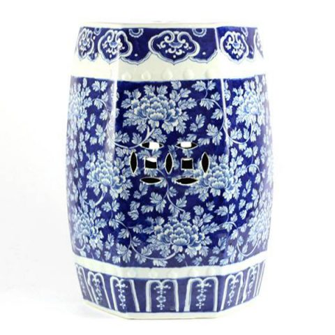 RYLU79-6SIDE_Hand painted peony flower pattern hexahedral structure ceramic outdoor stool