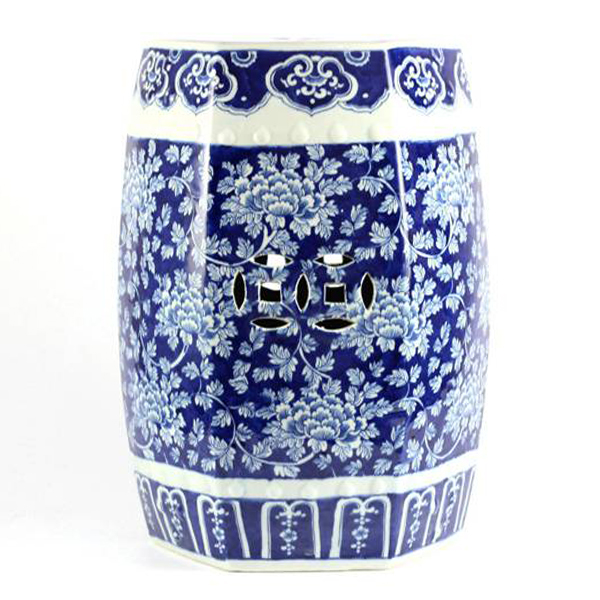 Hand painted peony flower pattern hexahedral structure ceramic outdoor stool