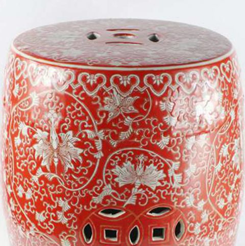 Red floral pattern ceramic stool.Garden Stool Ceramic Garden Stool Traditional Garden Stools Porcelain Garden Stool Outdoor Garden Stools ... & RYHH32_Red floral pattern ceramic stool u2013 ALL Ceramic stool ... islam-shia.org