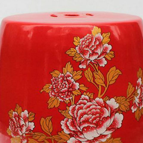 Chinese Red Floral Garden Stool.Garden Stool, Ceramic Garden Stool,  Traditional Garden Stools, Porcelain Garden Stool, Outdoor Garden Stools,  ...