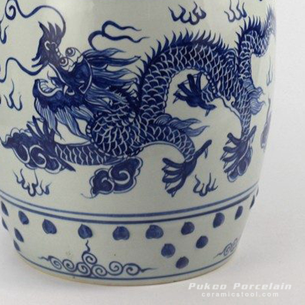 Ryll40 Hand Paint Chinese Dragon Pattern Blue White