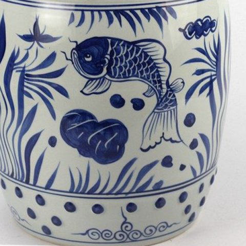 RYLL42_Hand paint fancy koi and water plant pattern blue white ceramic barrel stool u2013 ALL Ceramic stool/ porcelain garden stool & RYLL42_Hand paint fancy koi and water plant pattern blue white ... islam-shia.org