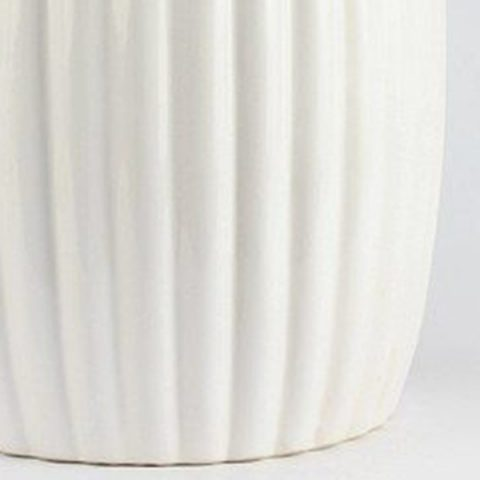 RYIR114 B_Matte White Stripe Pleated Ceramic Patio Stool U2013 ALL Ceramic Stool/  Porcelain Garden Stool