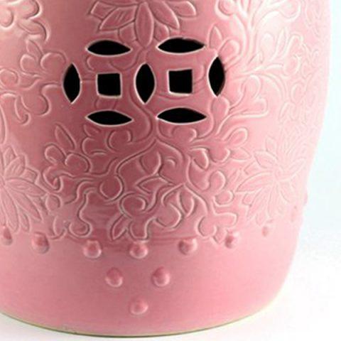 RYKB137 A_Solid Color Embossment Pink Ceramic Counter Stool U2013 ALL Ceramic  Stool/ Porcelain Garden Stool