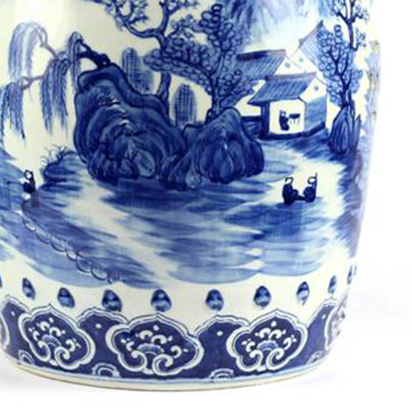 Rylu78 Hand Painted Blue And White Folksy Country Life