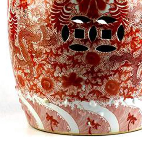 RZIS01_Scarlet Red Famille Rose Hand Paint Chinese Dragon Pattern Ceramic  Patio Stool U2013 ALL Ceramic Stool/ Porcelain Garden Stool
