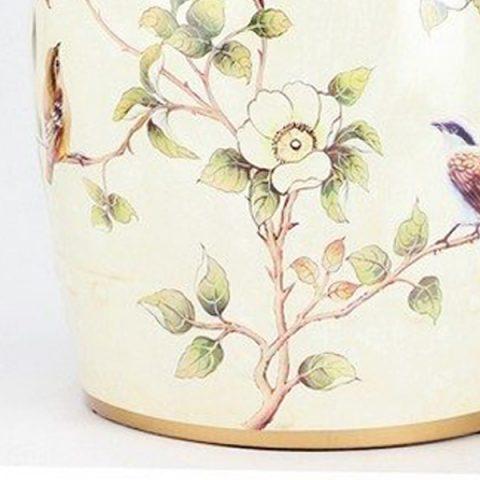 RYYL03_Almond Bird Branch Mark Ceramic Patio Stool U2013 ALL Ceramic Stool/  Porcelain Garden Stool