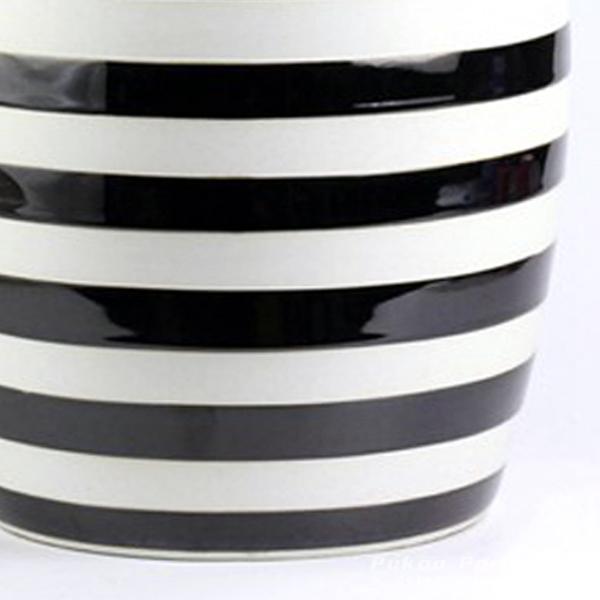 Ryir116 Black White Stripe Stool All Ceramic Stool