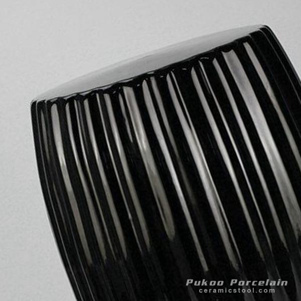 RYIR114 A_Matte Black Stripe Pleated Ceramic Patio Stool. ←; →