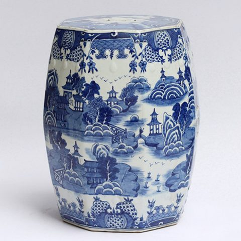 RYLU91_Hand made blue white pavillion pattern ceramic stool