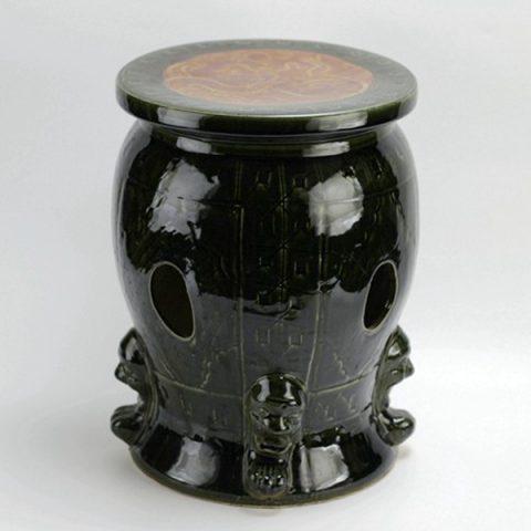 RYAZ213_China antqiue style unique design black ceramic ottaman