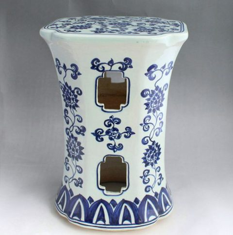 RYAZ336_Blue and White stool seat, hand painted