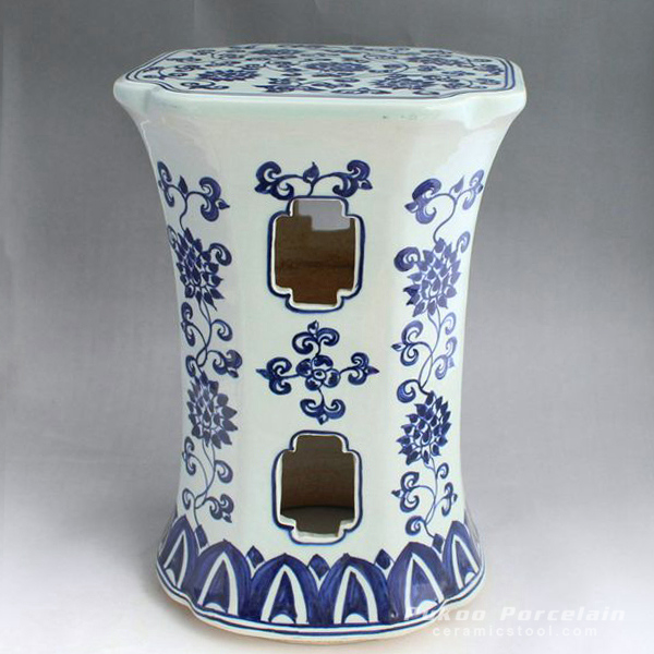 Blue and White stool seat, hand painted