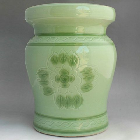 RYAZ337_Green ceramic garden stool