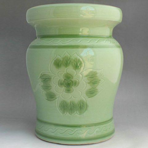 RYAZ337_Green ceramic garden stool