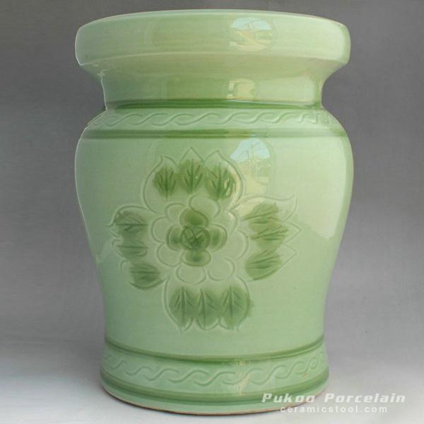 Green ceramic garden stool