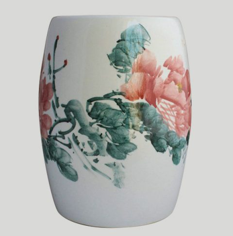 RYAZ338_Ceramic Garden Stool hand painted peony
