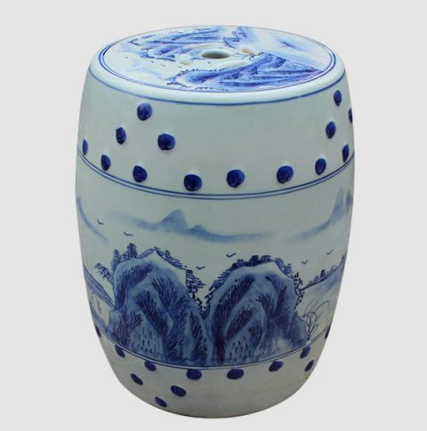 RYAZ339_Blue and White china bar stool, hand painted