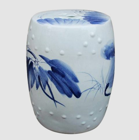 RYAZ340_Blue and White china bar stool, hand painted