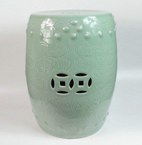 RYCN102_Ceramic Carved flower Garden Stool