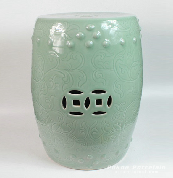 Ceramic Carved flower Garden Stool