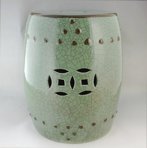 RYHD14_Green crackle Ceramic Garden Stool