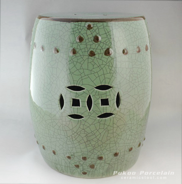 Green crackle Ceramic Garden Stool