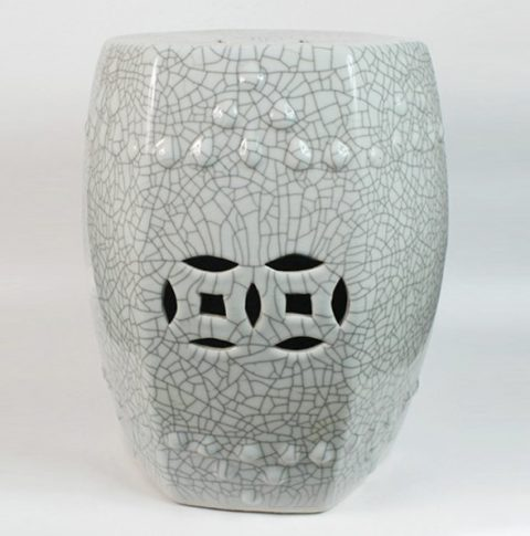 RYHD18_Crackle Stool, high temperature fired, 6 side