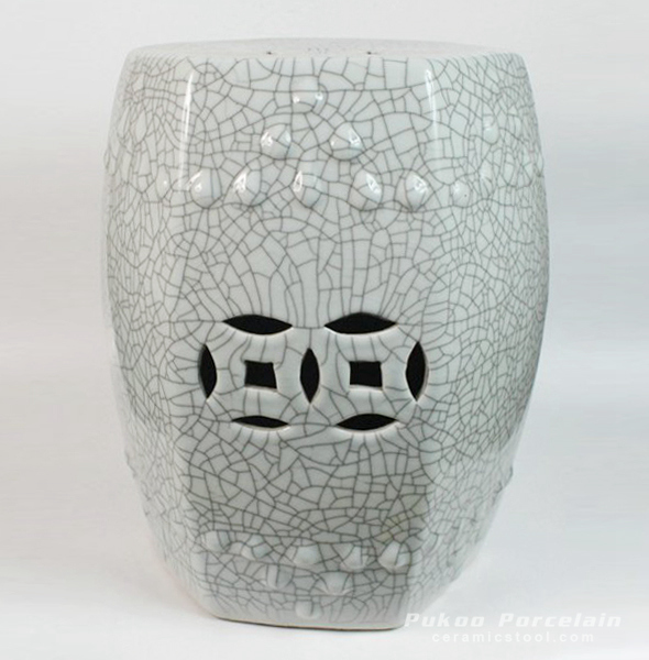 Crackle Stool, high temperature fired, 6 side