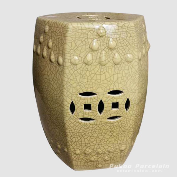 Yellow Crackle Bar Stool