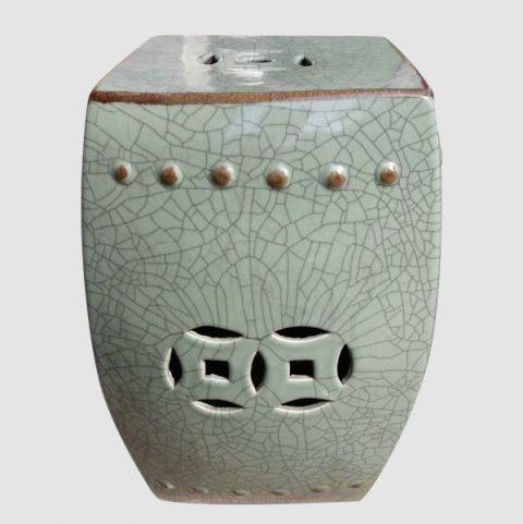 RYHD21_Green Crackle Ceramic Garden Stool