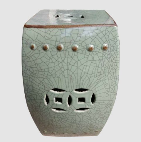 RYHD21_Green Crackle Ceramic Garden Stool