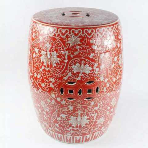 RYHH32_Red floral pattern ceramic stool