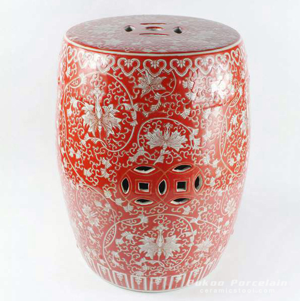 Red floral pattern ceramic stool