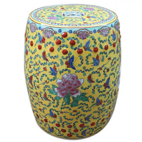 Famille rose yellow blue red porcelain stool table outdoor , hand painted