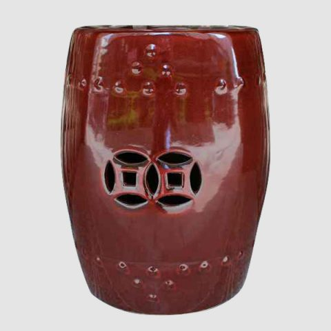RYIR102_Oxblood red plain color glazed ceramic fine clay stool