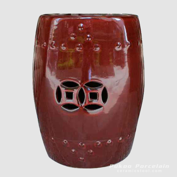Oxblood red plain color glazed ceramic fine clay stool