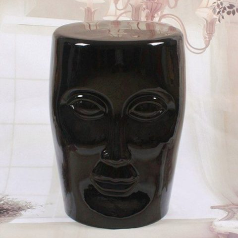 RYIR112-A_Human face black solid color ceramic stool