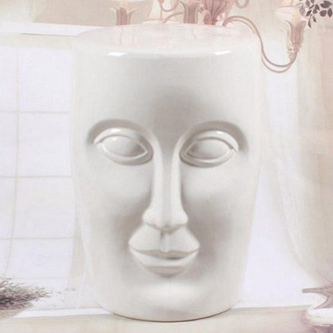 RYIR112-B_Human face white solid color ceramic stool