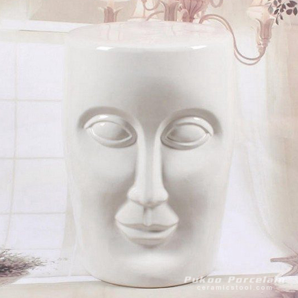 Human face white solid color ceramic stool