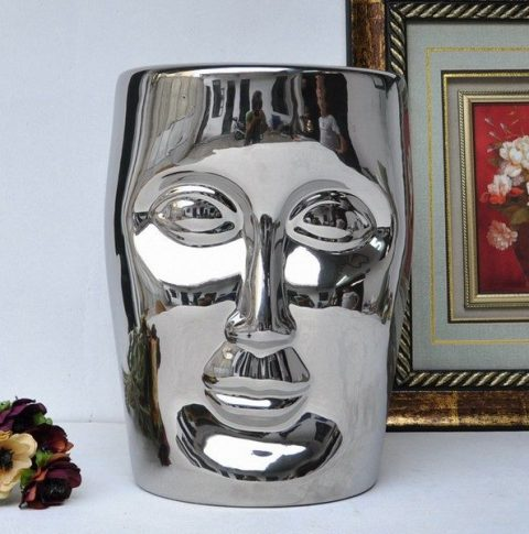 RYIR112-E_Human face silver solid color ceramic stool