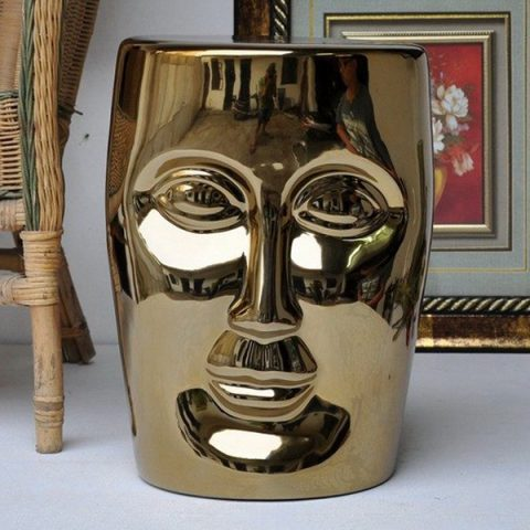 RYIR112-F_Human face golden solid color ceramic stool