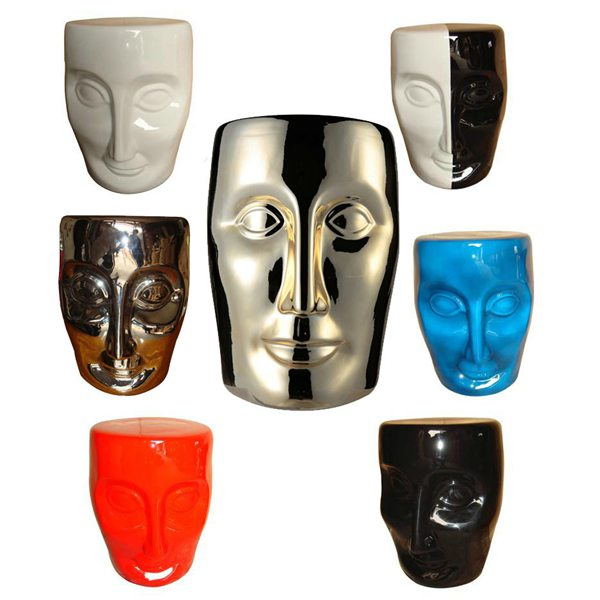 Series color glaze ceramic human face ornament stool