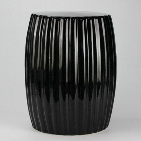 RYIR114-A_Matte black stripe pleated ceramic patio stool