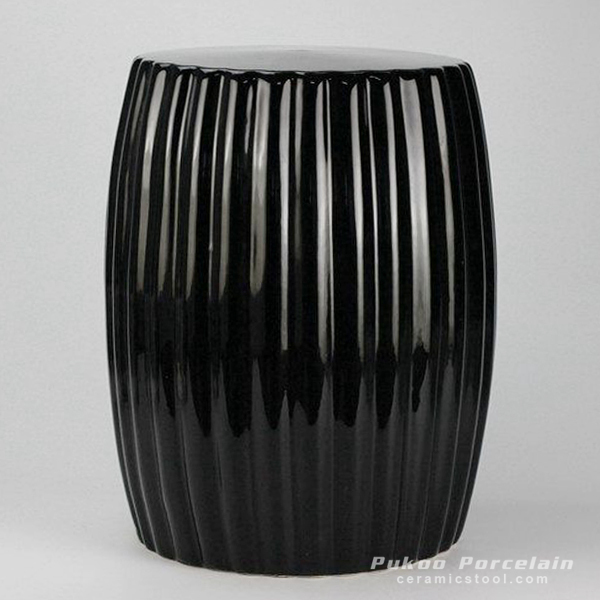 Matte black stripe pleated ceramic patio stool