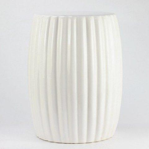 RYIR114-B_Matte white stripe pleated ceramic patio stool